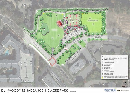 The site plan for Dunwoody's newest park, located on Pernoshal Court.