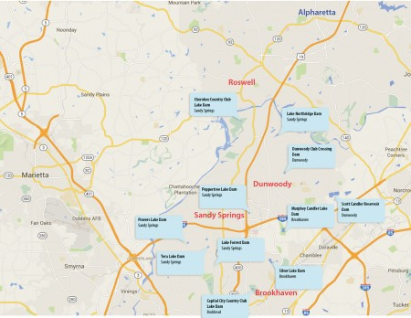"""Eleven dams in the Buckhead, Dunwoody, Sandy Springs and Brookhaven areas have been classified as """"high hazard"""" in the Safe Dams Program files."""