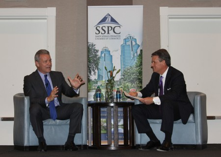 Mercedes-Benz USA President and CEO Steve Cannon (left) answers a question from Jim Fitzpatrick, CEO of CBT Automotive Network, at the Oct. 20 Sandy Springs/Perimeter Chamber of Commerce luncheon at the Westin Atlanta Perimeter North hotel.