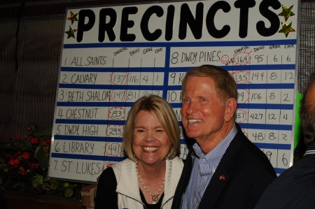 Denny Shortal and his wife, Meredy, were all smiles when they saw the vote count on Nov. 3.