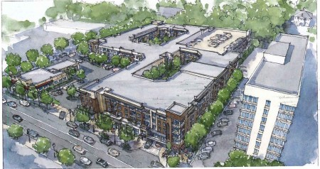 An illustration of the planned mixed-use redevelopment at 6075-6077 Roswell Road in Sandy Springs.