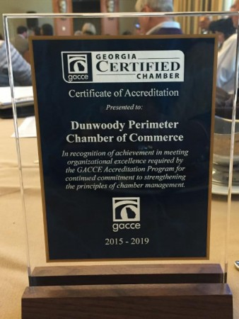 The Dunwoody Perimeter Chamber of Commerce has been accredited officially.