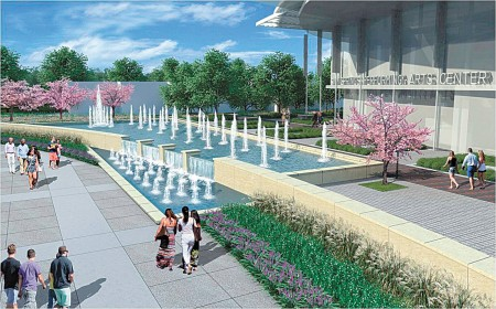 An illustration of the fountains and public space outside the performing arts center in the future City Springs redevelopment.
