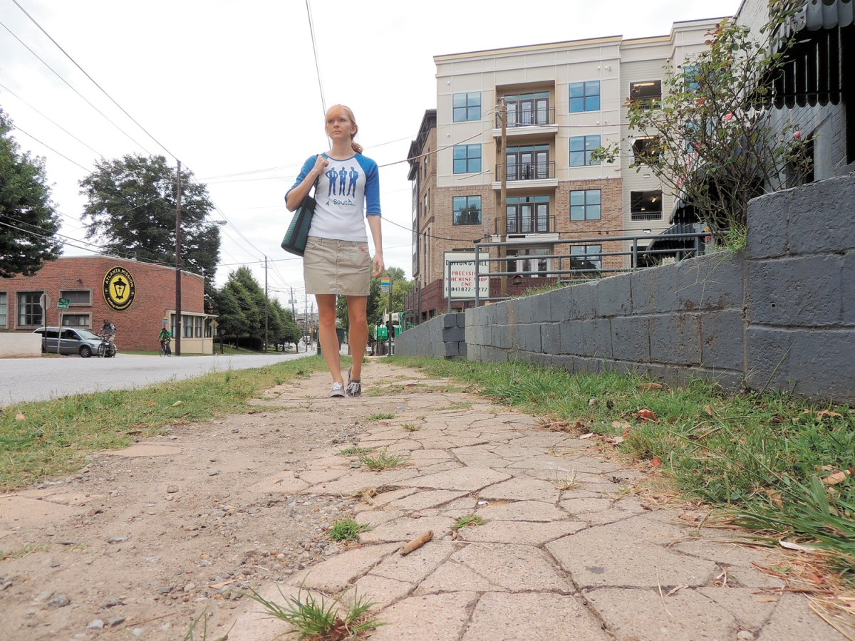 PEDS considers policy changes and increased funding for sidewalk repairs in the city of Atlanta essential, like these along Howell Mill Road.