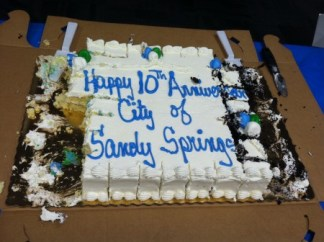 The Sandy Springs 10th birthday cake served Dec. 1 at City Hall. (Photo: John Ruch)