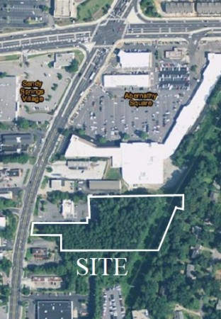 A detail of an aerial photo, contained in Pulte Group's city filing, showing the site at 6555 Roswell Road proposed for a townhome redevelopment.