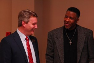 "Brookhaven Mayor John Ernst, left, with Pastor Donald Sawyer of Rise Again Ministries, right, attended the Martin Luther King Jr. Day dinner and celebration honoring the ""Lynwood Integrators"" on Jan. 18. (Photo Phil Mosier)"