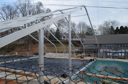 A roof is being added to allow year-round swimming at the pool at Chastain Park.