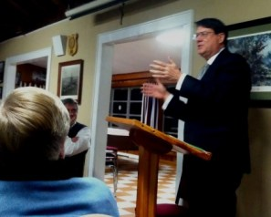 Sandy Springs Mayor Rusty Paul speaks to the Buckhead Fifty Club Jan. 12 at the American Legion post in Chastain Park. (Photo John Ruch)