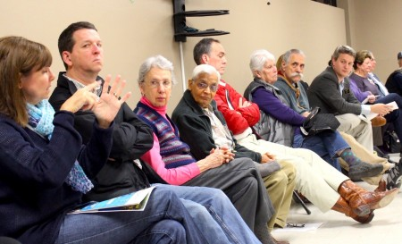 Brookhaven Mayor John Ernst, far right, listens to a resident share her concerns about speeding in the city. (Photo Dyana Bagby)