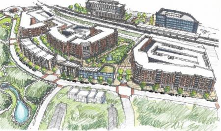 Aerial view of planned development at Brookhaven/Oglethorpe MARTA station.