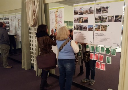 """Residents use stickers to weigh in on planning preferences at the Jan. 27 """"Next Ten"""" workshop. (Photo John Ruch)"""