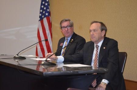 Rep. Tom Taylor (R-Dunwoody), at left, and Sen. Fran Millar address the Dunwoody Perimeter Chamber on Feb. 19.