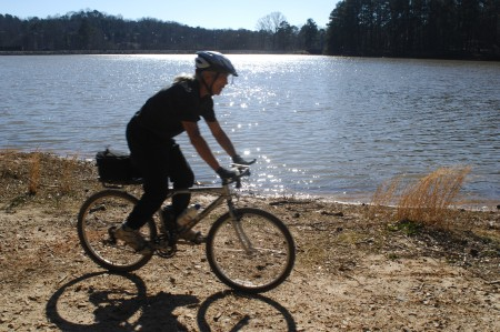Murphey Candler Park; Saturday January 30, 2016 11:00am. Walking the trail around the lake. Trail bike riding, Greg Mitchell.