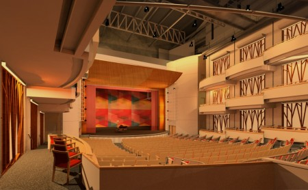 An interior design concept illustration for the theater in the performing arts center in the City Springs project.