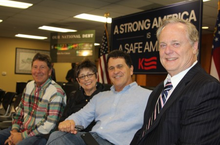Among the locals scoring choice seats at Kasich's town hall Feb. 23 were Tom Mahaffey (right), president and CEO of the Sandy Springs/Perimeter Chamber of Commerce, and (from left) Robert, Sally and Bruce Alterman, former owners of the recently shuttered local landmark restaurant The Brickery. (Photo John Ruch)