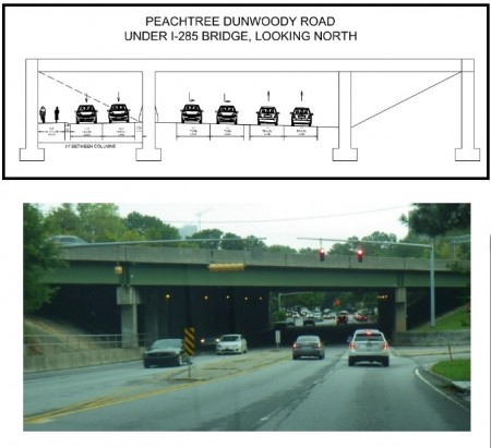 A PCIDs illustration (top) shows the future Peachtree-Dunwoody Road under a wider I-285 bridge. At bottom, a PCIDs photo of the road as it looks today.