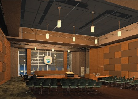 An illustration of the future City Springs studio theater that will double as the Sandy Springs City Council chamber.