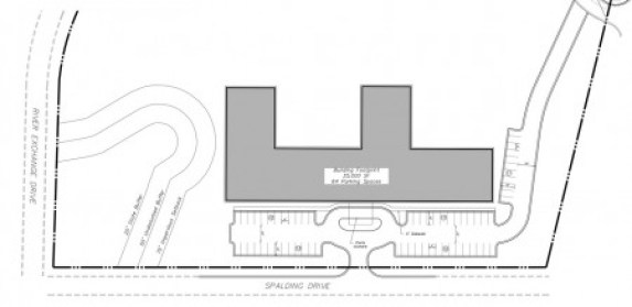 The site plan of the proposed Mansions Sandy Springs assisted living facility on Spalding Drive.