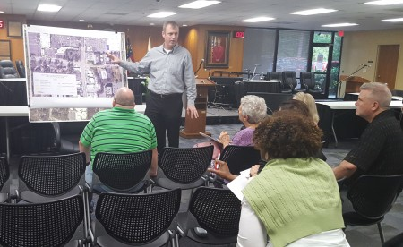 Keith Kunst of the design firm Arcadia explains the Carpenter Drive project to residents at the March 30 meeting at Sandy Springs City Hall. (Photo John Ruch)