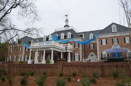 The new Church of Scientology of Georgia building in Sandy Springs is decorated with bunting for its grand opening. (Photo John Ruch)