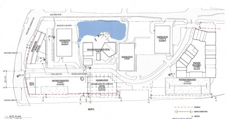 A site plan of the Peachtree Dunwoody Pavilion redevelopment from a city filing.