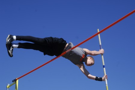 North Springs Charter High School freshman Jake Rubin clears the bar during the pole vault.