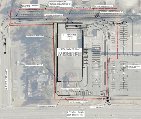 A plan from a city filing showing the outline of the proposed grocery store and parking lot atop existing structures.