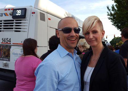 "Joerg and Katja Lauterbach on the April 27 ""bus crawl."" (Photo John Ruch)"