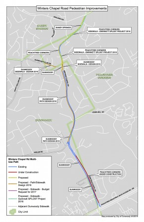 Click to enlarge. The Winters Chapel Road project includes sidewalks.