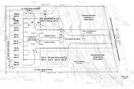 The draft site plan for townhomes at 6052 Boylston Drive from the city's website.