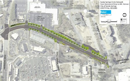A map illustrating the Sandy Springs Circle project, as shown on the city's construction web page. The map is oriented with north to the right and west at the top.