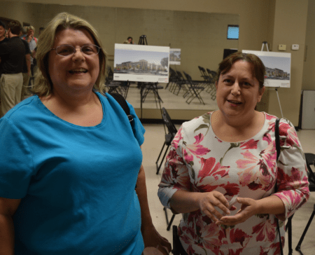 Jennifer Heath, left, and her sister Suzanne, who live in the Brookhaven Fields neighborhood, said apartment construction is changing their community. (Photo Joe Earle)
