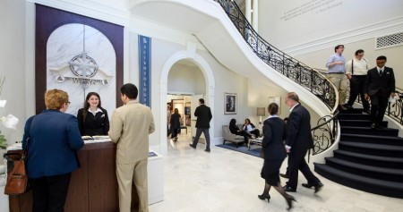 The main entry room of the new Church of Scientology, in a publicity photo.