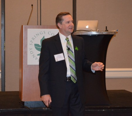 Chuck Flink of Greenways, Inc., speaks at the Sandy Springs Conservancy's annual dinner April 13 at the Westin Atlanta Perimeter North hotel. (Photo John Ruch)