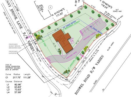 LEFKO Group's plan for 6691 Sunny Brook Lane in city filings, showing the existing house and proposed parking lot.