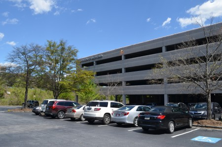 The parking garage in the Pavilion at Lake Hearn office park at 1150 Lake Hearn Drive. (Photo John Ruch)