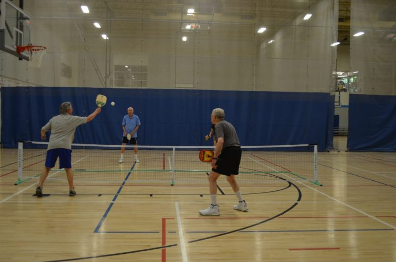 Pickleball players gather at the Marcus Jewish Community Center of Atlanta.