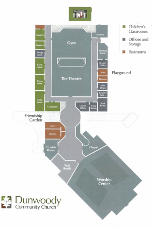 An interior planning showing the school use at Dunwoody Community Church, in a city of Sandy Springs filing.