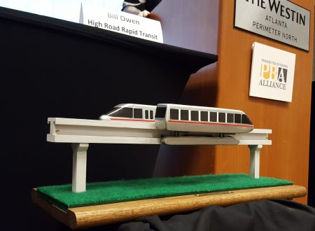 The model monorail displayed by Owen Transit Group at the May 13 Perimeter Business Alliance meeting. (Photo John Ruch)