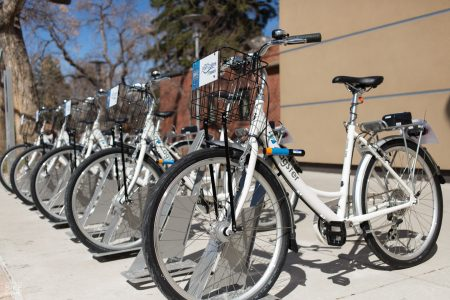 A publicity image of one of Zagster's bicycle share stations.
