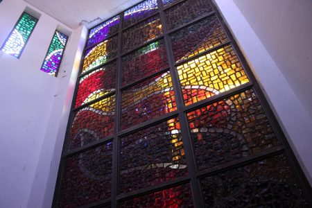 Stained glass at the altar of the chapel.