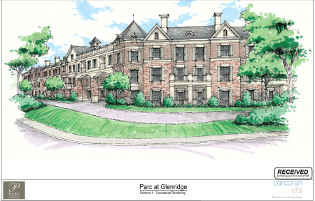 A rendering of Parc Communities' redesigned senior housing plan for the Apostles Church site at Glenridge and Hammond drives in Sandy Springs, from a city filing.