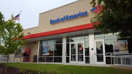 This new Bank of America branch in Sandy Springs will make the business the sole survivor of an upcoming mixed-use development next door. (Photo John Ruch)
