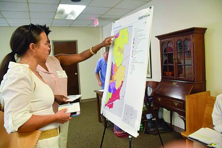 Residents review a character area studies map at the kick-off meeting on July 14 at City Hall. (City of Brookhaven)