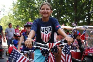 Ten-year-old Emily Creaven rode her star-spangled bike in the parade.