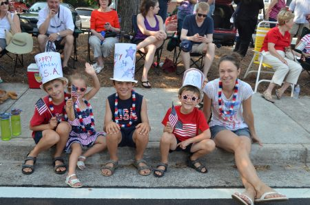 The Kakhadze family -- left to right, Vano, Sabina, Dante, Adlai and Erin-- come up from Atlanta for Dunwoody's July 4 festivities.