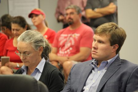 Greg Power, right, of Terwilliger Pappas, and attorney Laurel David had hoped their rezoning request would allowed to be withdrawn without prejudice. (Photo Dyana Bagby)