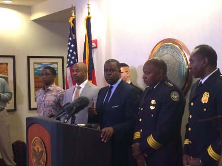 Mayor Reed at the media debriefing after meeting with members of Black Lives Matter.