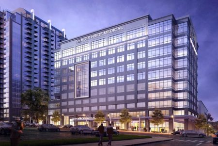 An illustration of the Northside Hospital medical tower planned for Atlanta's Midtown.